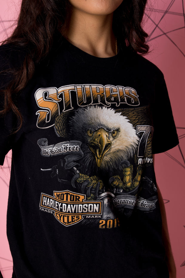 Daisy Street Vintage Harley Davidson T-Shirt with Front and Back Sturgis Eagles Print