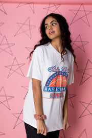 Daisy Street Vintage Sports T-Shirt with Basketball Front and Back Print