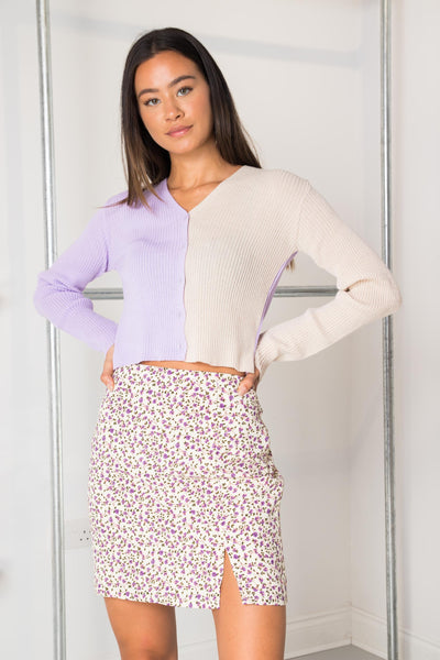 Daisy Street 90's Cropped Cardigan in Lilac/Stone