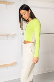 Daisy Street 90's Cropped Cardigan in Lime/Stone