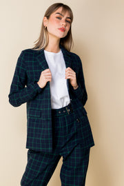 Heartbreak Boyfriend Blazer in Navy and Green Check