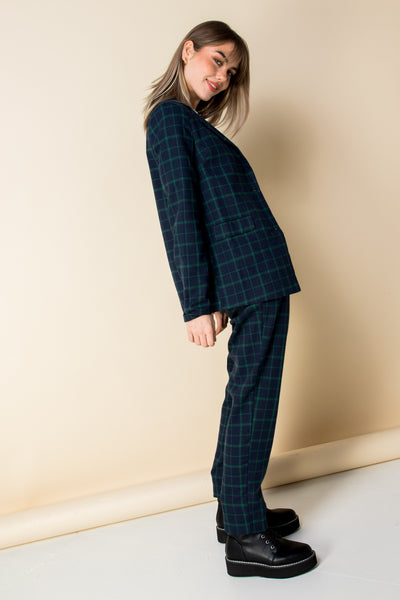Heartbreak Tailored Peg Leg Trousers in Navy and Green Check