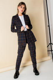 Heartbreak Tailored Peg Leg Trousers in Navy and Orange Check