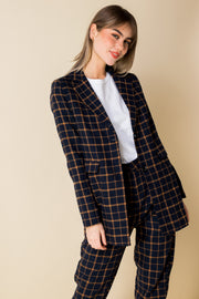 Heartbreak Longline Boyfriend Blazer in Navy and Orange Check