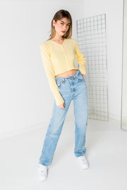 Daisy Street 90's Cropped Cardigan in Yellow