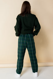 Daisy Street Relaxed Straight Leg Trousers with Drawstring Waist in Check