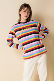 Daisy Street Long Sleeve T-Shirt with California Embroidery in Retro Stripe