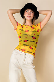 Daisy Street Mesh Top with Lover and Heart Print