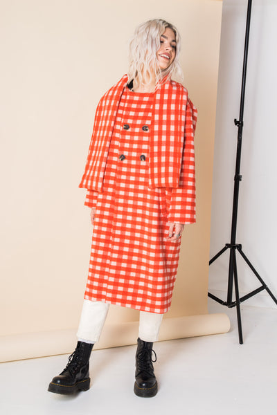 Daisy Street Scarf Coat in Red Gingham Check