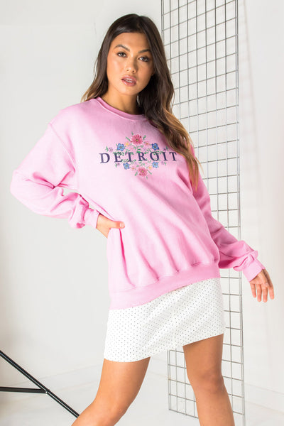 Daisy Street Relaxed Sweat with Detroit Print