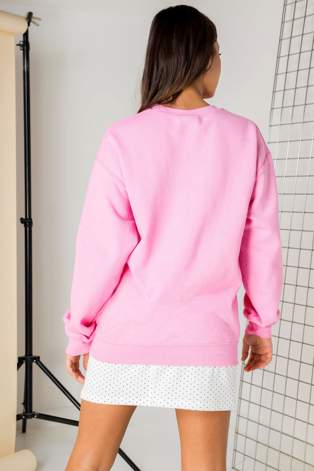 Daisy Street Relaxed Sweat with Rose Graphic