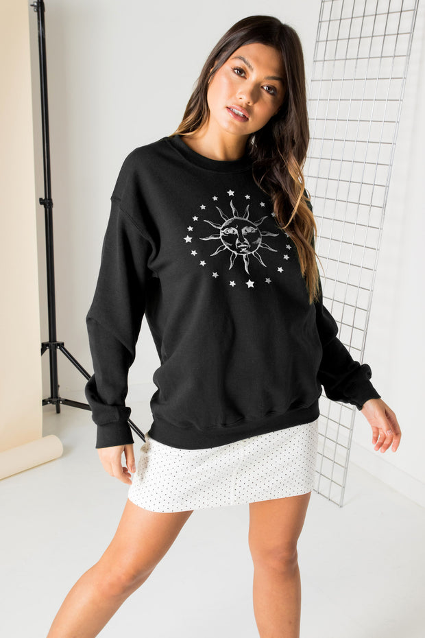 Daisy Street Relaxed Sweatshirt with Solstice Graphic