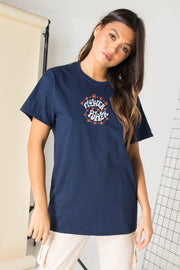 Daisy Street Relaxed T-Shirt with Flower Power Print