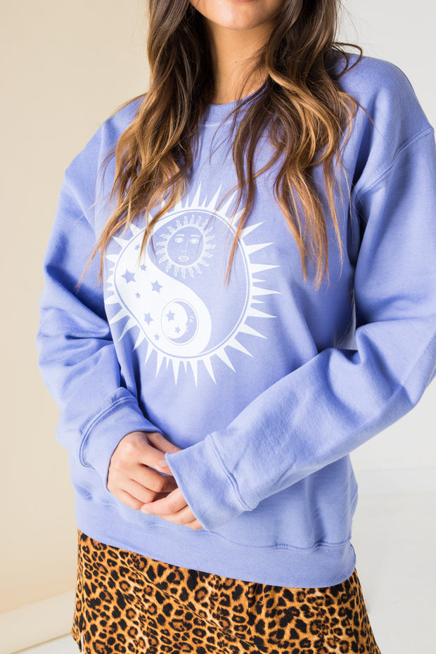Daisy Street Oversized Sweat with Ying Yang Sun Print