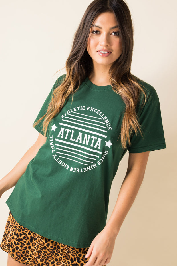Daisy Street Relaxed T-Shirt With Atlanta Print