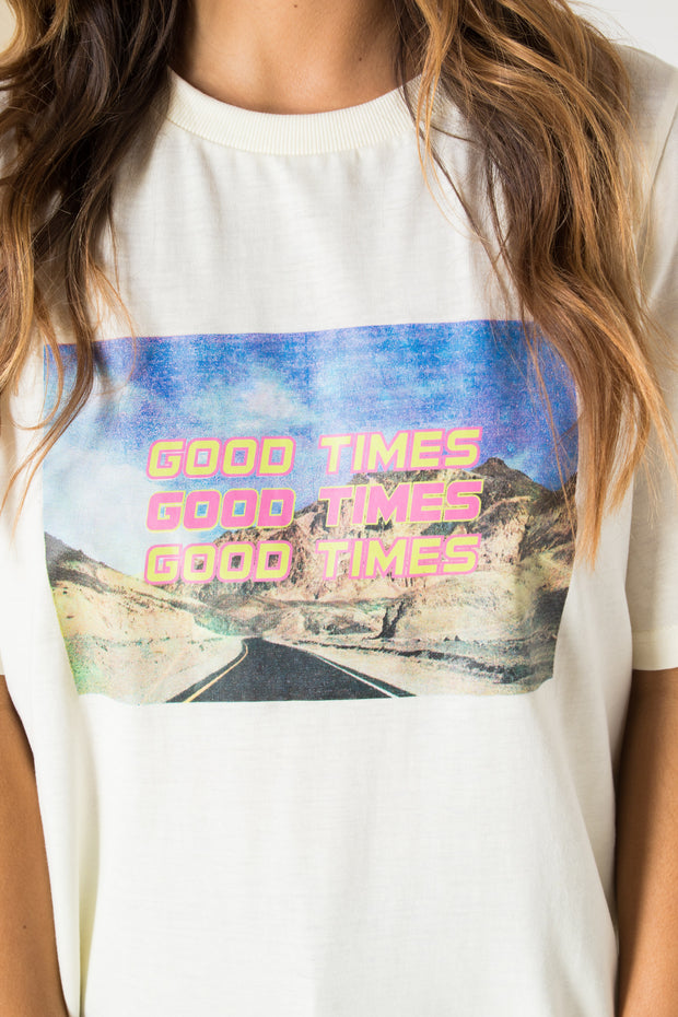 Daisy Street Relaxed T-shirt with Good Times Print