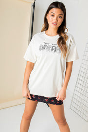 Daisy Street Relaxed T-Shirt with Own Your Power Print