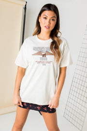 Daisy Street Relaxed T-Shirt with Eagle Graphic