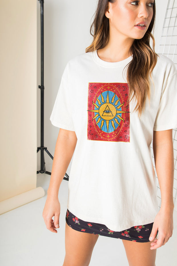 Daisy Street Relaxed T-Shirt with Tarot Print