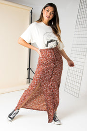 Daisy Street Maxi Skirt with Front Split in Vintage Floral