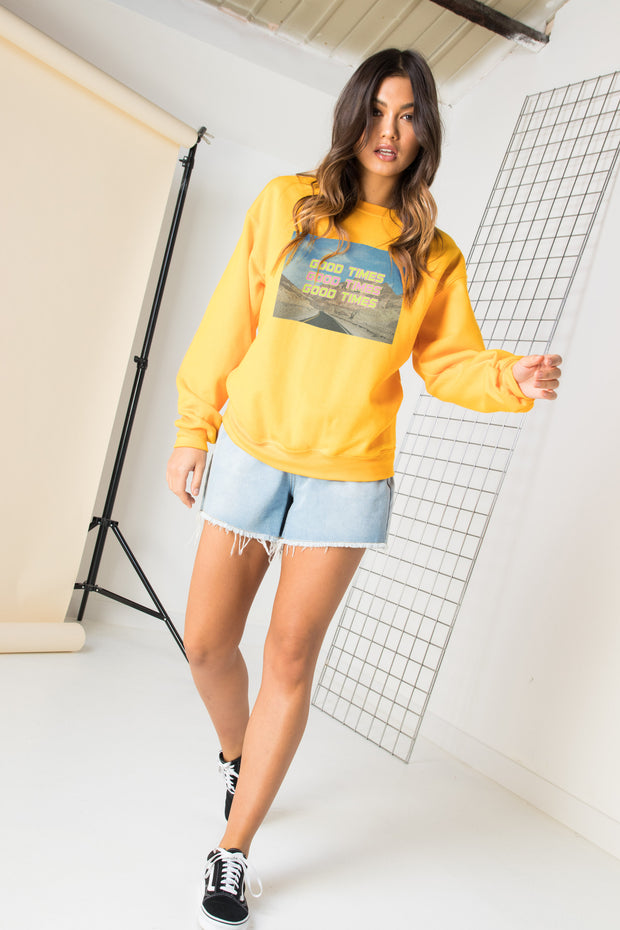 Daisy Street Relaxed Sweatshirt with Good Times Graphic