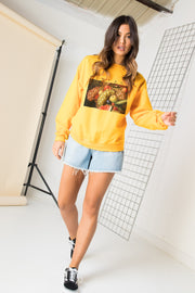Daisy Street Relaxed Sweatshirt with Vintage Fruit Print
