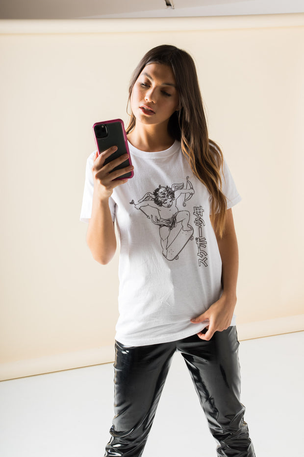 Daisy Street Relaxed T-Shirt with Cherub on a Skateboard Print