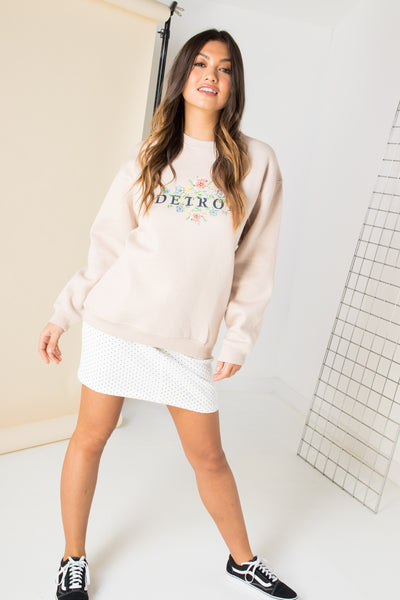 Daisy Street Relaxed Sweatshirt with Detroit Print
