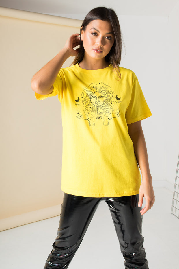 Daisy Street Relaxed T-Shirt with Past And Future Print