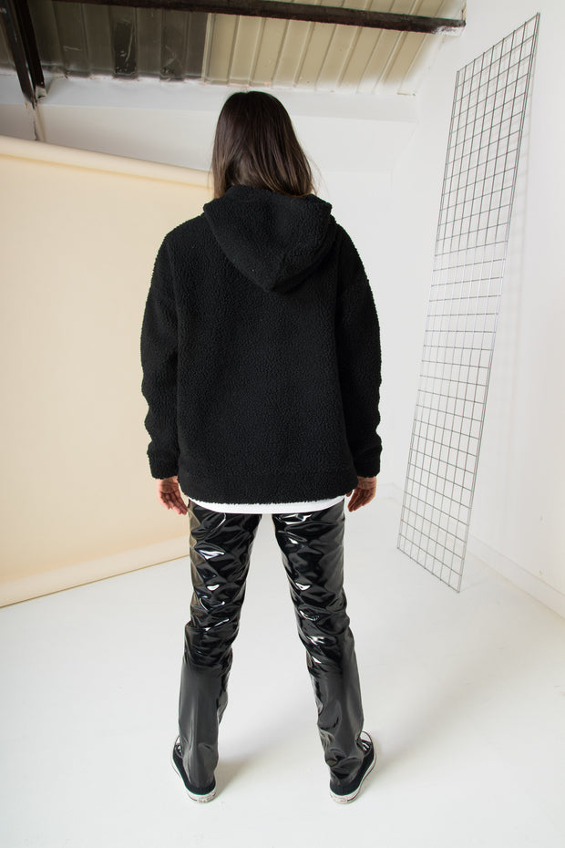 Daisy Street Oversized Half Zip Hoodie with Los Angeles Embroidery in Borg