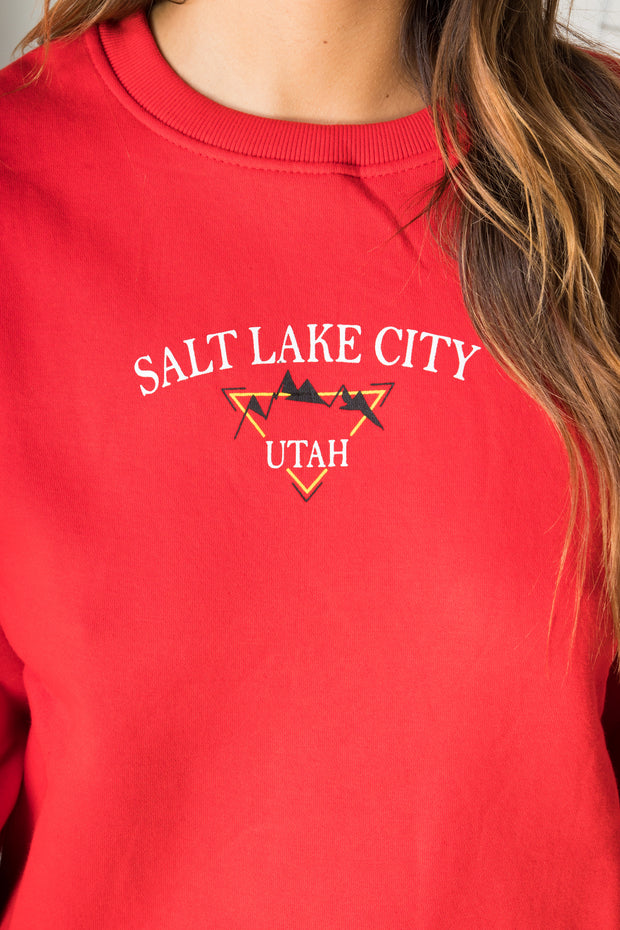 Daisy Street Relaxed Sweatshirt with Vintage Salt Lake Print