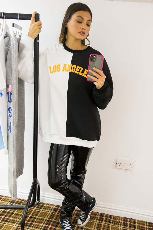 Daisy Street Oversized Sweat with Los Angeles Embroidery in Colour Block