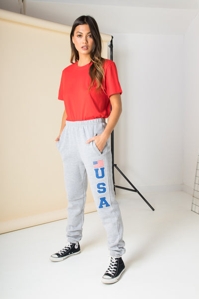 Daisy Street Relaxed Cuffed Joggers with USA Print