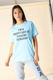 Daisy Street Relaxed T-Shirt with Ray Of F*cking Sunshine Print
