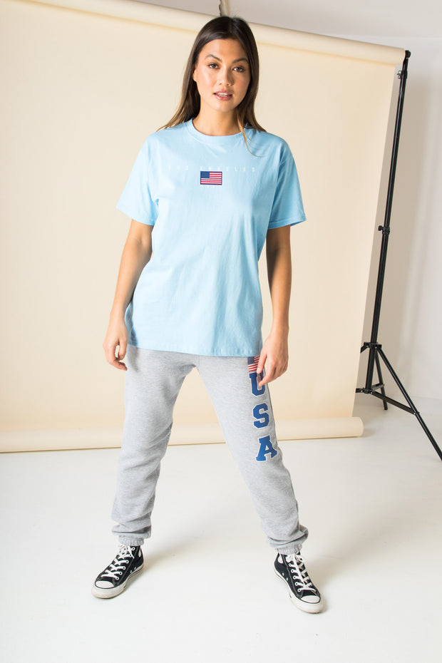 Daisy Street Relaxed T-Shirt with USA Flag Graphic