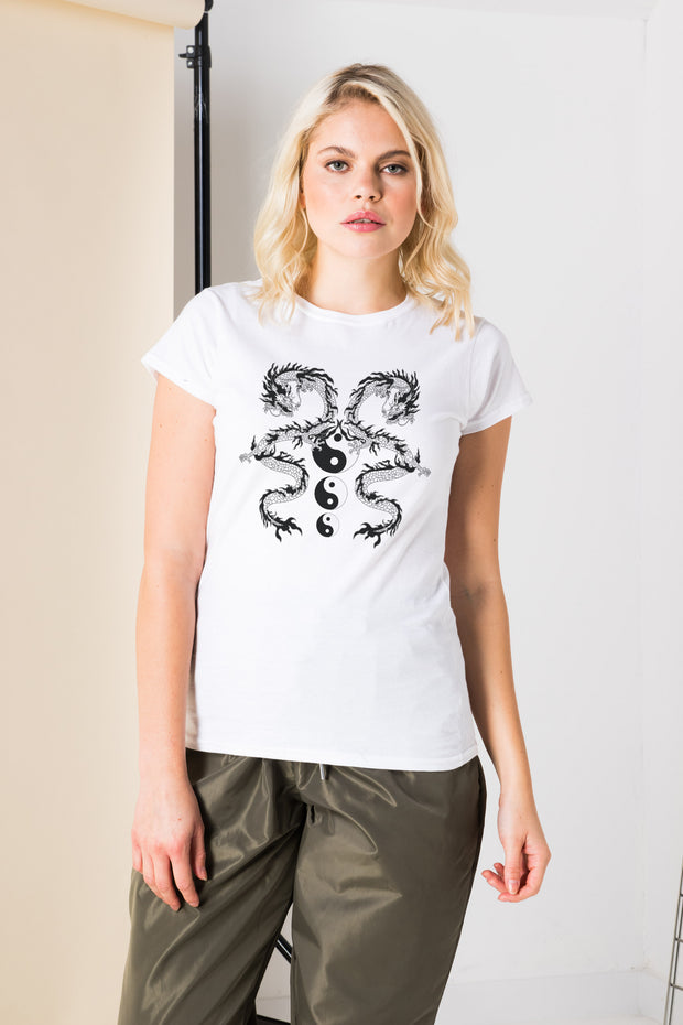 Daisy Street Slim Fit T-Shirt with Dragon Ying Yang Graphic