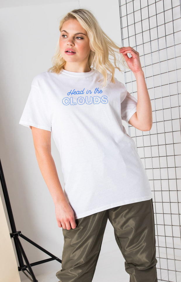 Daisy Street Relaxed T-Shirt with Head in the Clouds Print