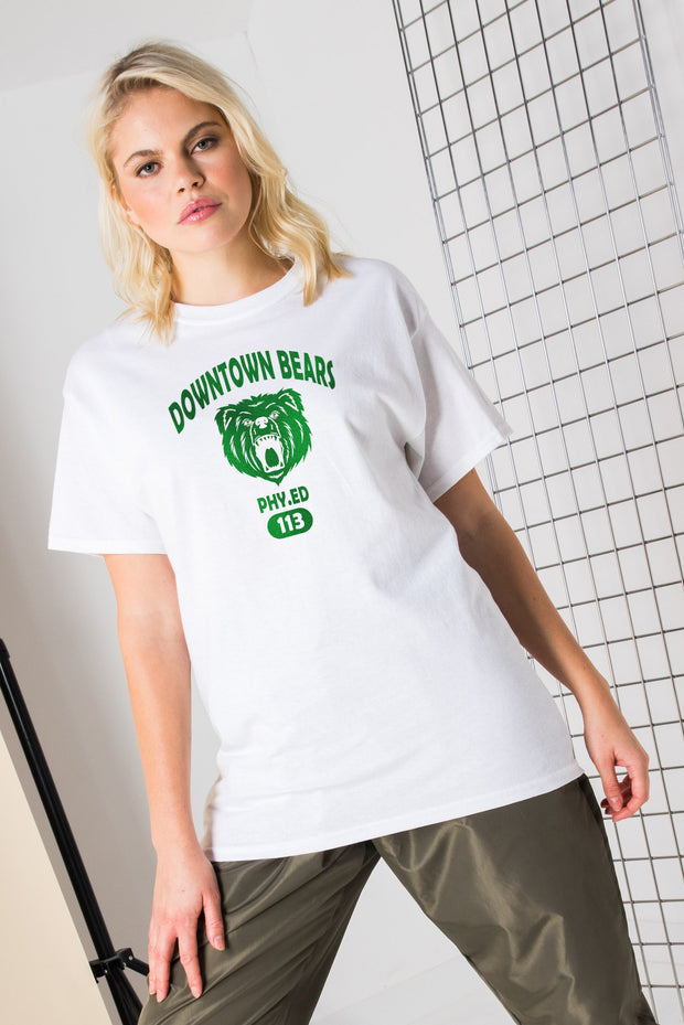 Daisy Street Relaxed T-Shirt with Green Downtown Bears Print