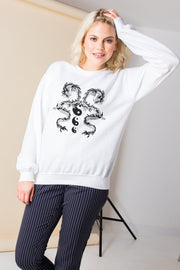 Daisy Street Relaxed Sweatshirt with Dragon Ying Yang Graphic