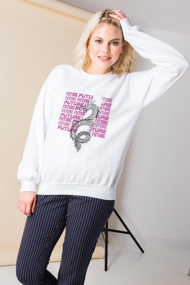 Daisy Street Relaxed Sweatshirt with Future Dragon Graphic
