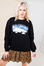 Daisy Street Relaxed Sweatshirt with Vintage Los Angeles Print