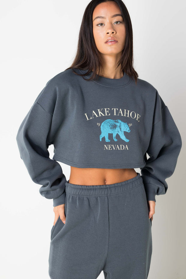 Daisy Street Cropped Sweater with Lake Tahoe Print