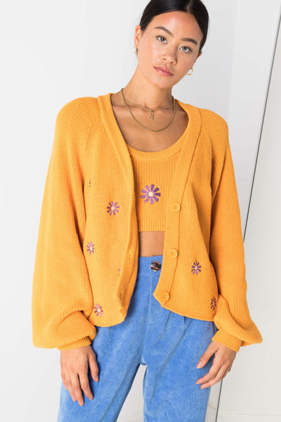 Daisy Street Oversized Cardigan with Flower Embroidery