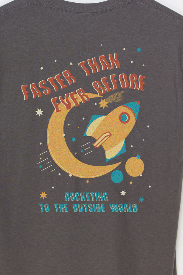 Daisy Street Relaxed T-Shirt with Front and Back Zoom Rocket Print