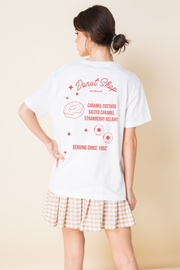 Daisy Street Relaxed T-Shirt With Front and Back Donut Shop Print