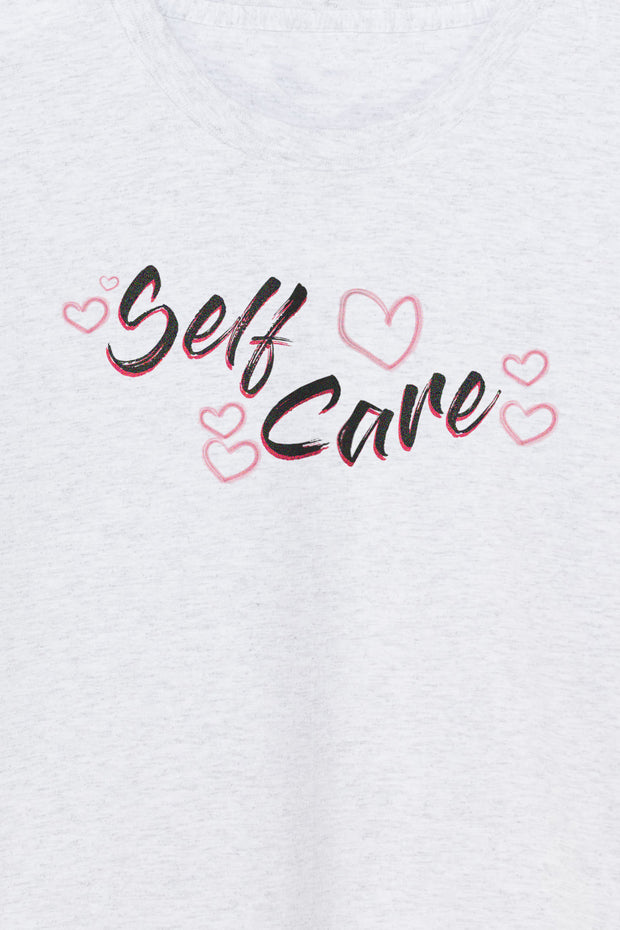 Daisy Street Relaxed T-Shirt with Self Care Print