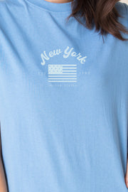 Daisy Street Relaxed T-Shirt Dress with New York Flag Print