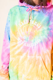Daisy Street Oversized Tie-Dye Hoodie with Keep Peace and Happiness Print