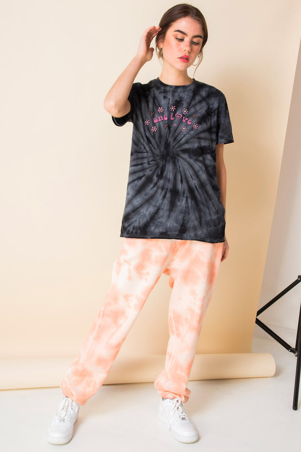 Daisy Street Tie Dye T-Shirt with One Love Print