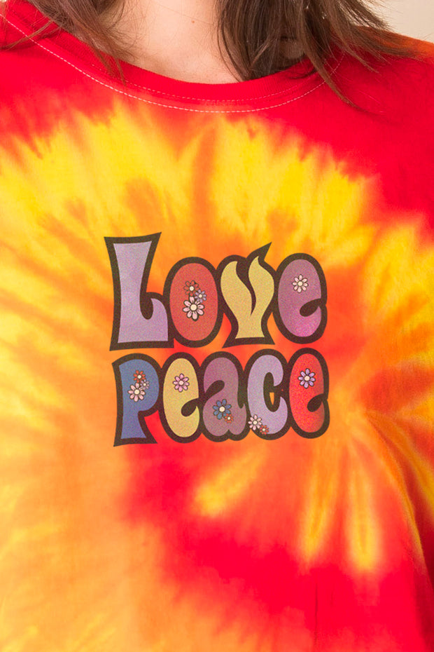 Daisy Street Tie Dye T-Shirt with Love Peace Print